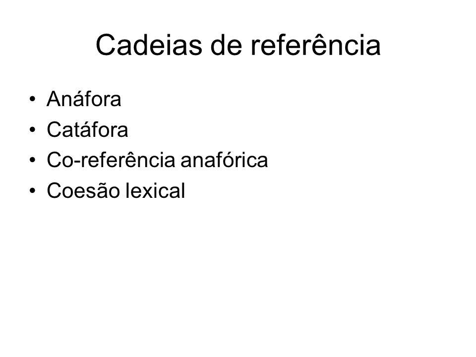 Cadeias de referência Anáfora Catáfora Co-referência anafórica