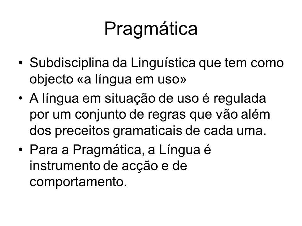 Pragmática Subdisciplina da Linguística que tem como objecto «a língua em uso»