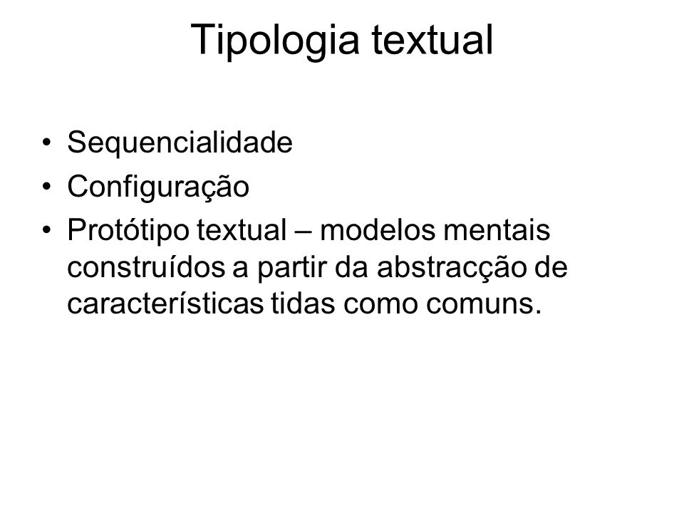 Tipologia textual Sequencialidade Configuração