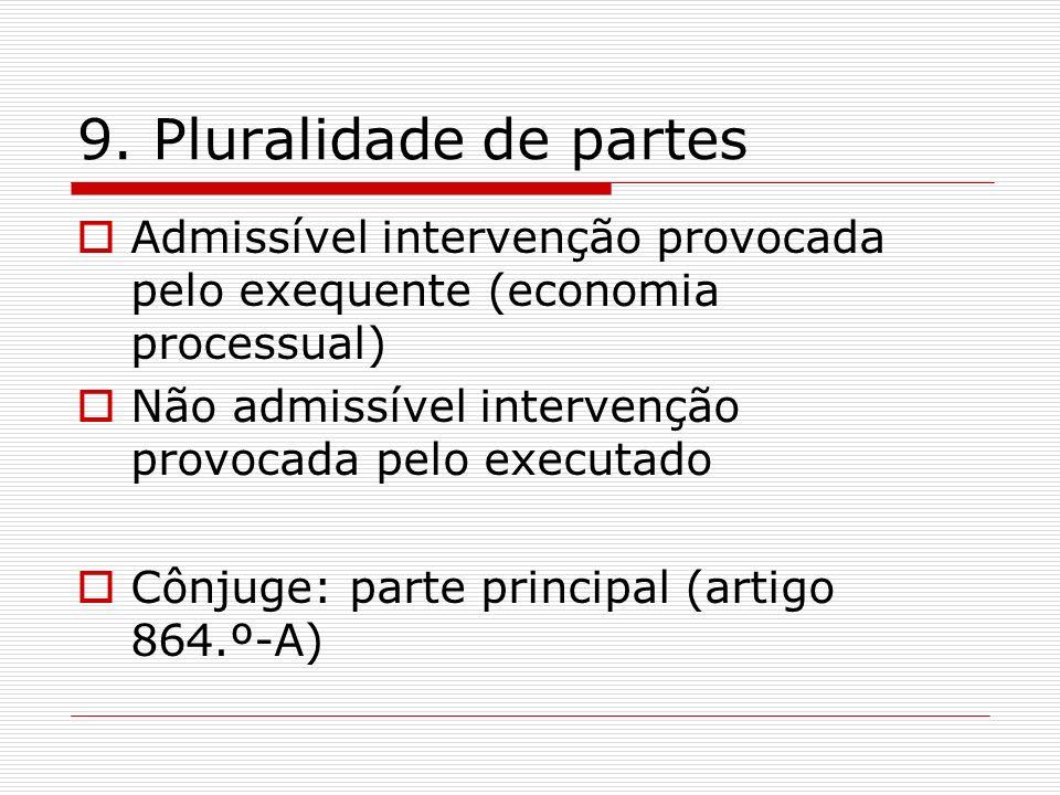 9. Pluralidade de partes Admissível intervenção provocada pelo exequente (economia processual) Não admissível intervenção provocada pelo executado.