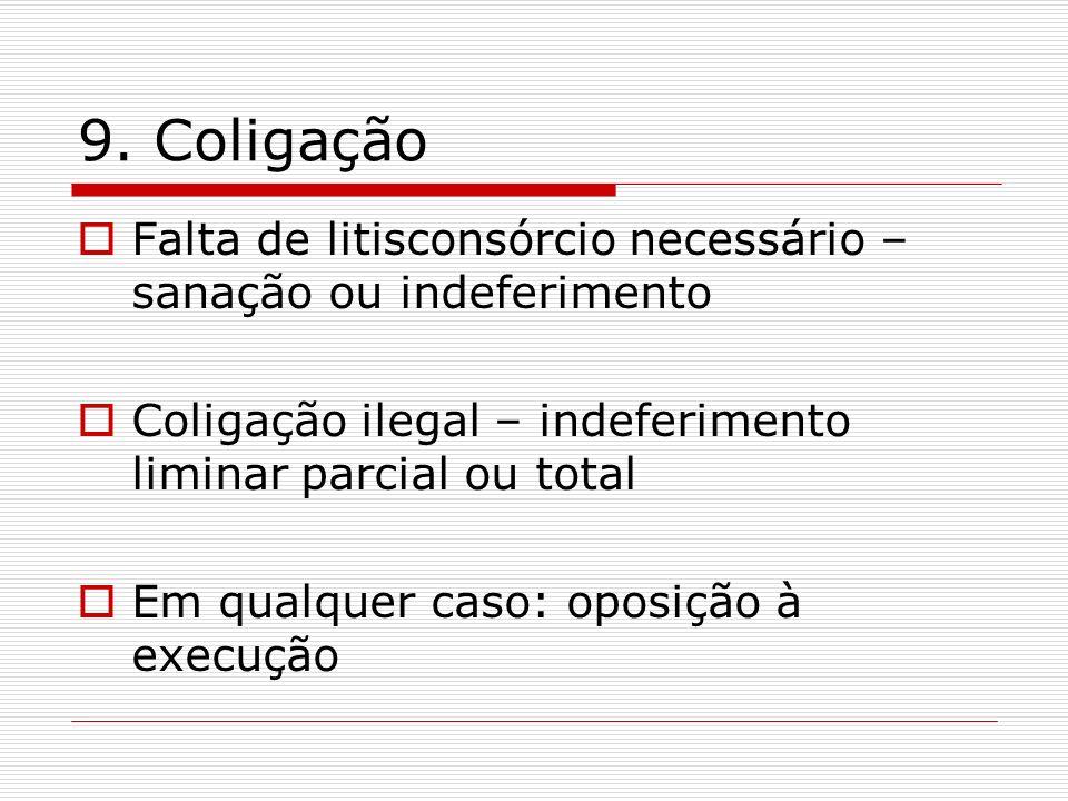 9. Coligação Falta de litisconsórcio necessário – sanação ou indeferimento. Coligação ilegal – indeferimento liminar parcial ou total.
