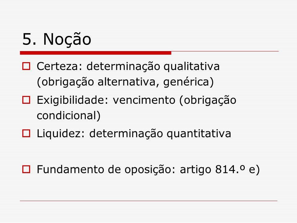 5. Noção Certeza: determinação qualitativa (obrigação alternativa, genérica) Exigibilidade: vencimento (obrigação condicional)
