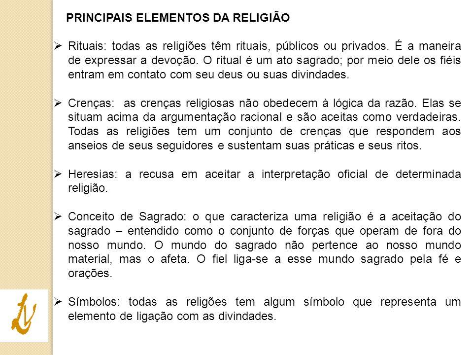 PRINCIPAIS ELEMENTOS DA RELIGIÃO