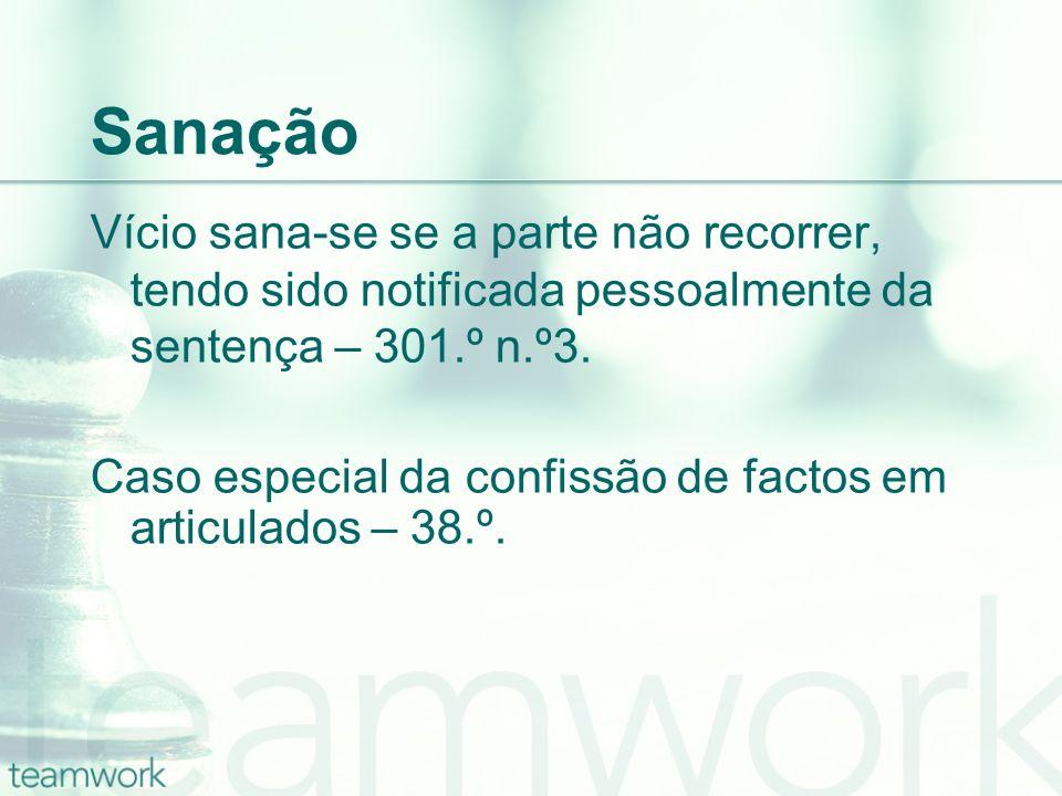 SanaçãoVício sana-se se a parte não recorrer, tendo sido notificada pessoalmente da sentença – 301.º n.º3.