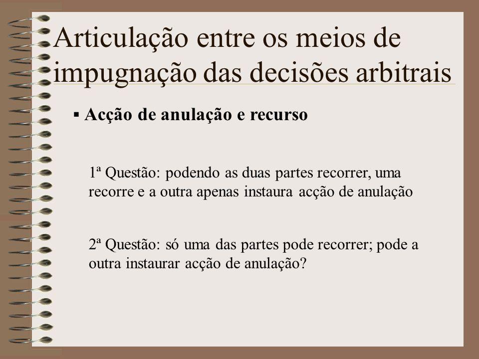 Articulação entre os meios de impugnação das decisões arbitrais