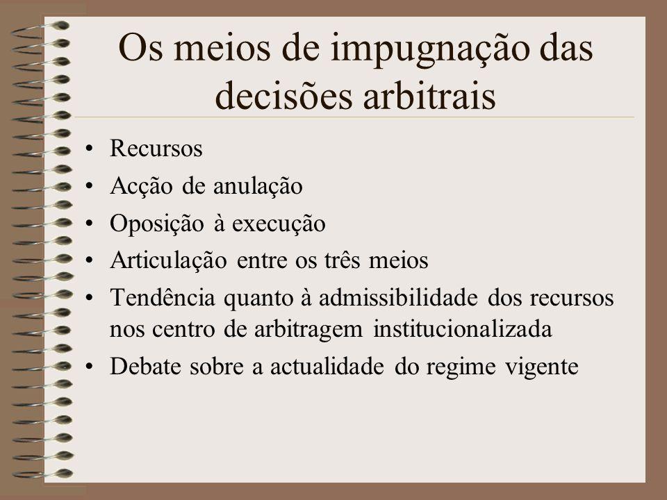 Os meios de impugnação das decisões arbitrais