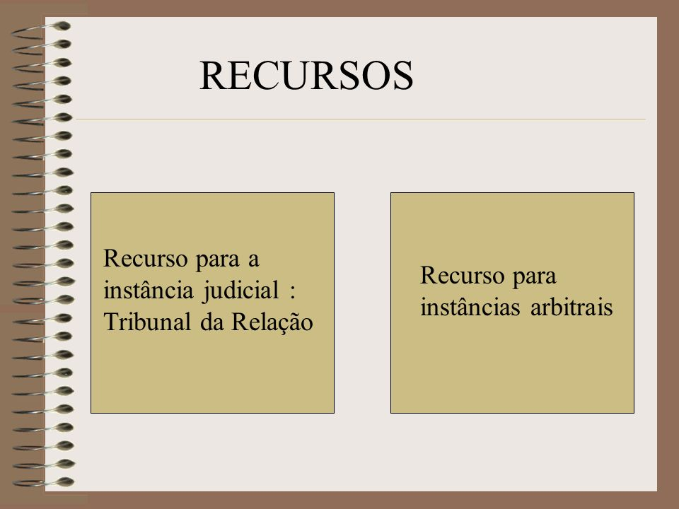 RECURSOS Recurso para a instância judicial : Tribunal da Relação