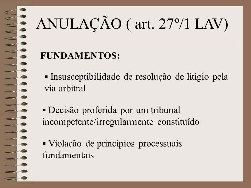 ANULAÇÃO ( art. 27º/1 LAV) FUNDAMENTOS: