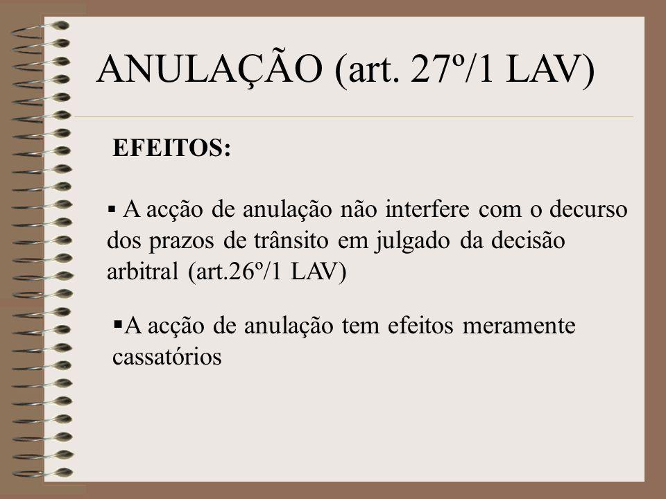 ANULAÇÃO (art. 27º/1 LAV) EFEITOS: