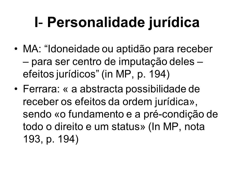 I- Personalidade jurídica