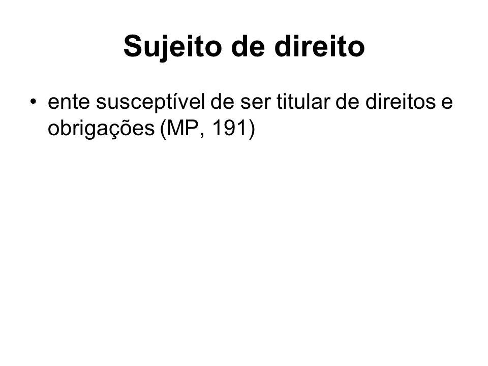 Sujeito de direito ente susceptível de ser titular de direitos e obrigações (MP, 191)