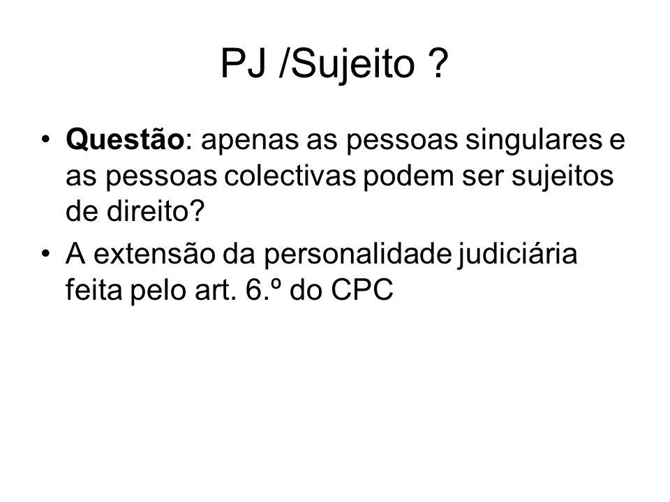 PJ /Sujeito Questão: apenas as pessoas singulares e as pessoas colectivas podem ser sujeitos de direito