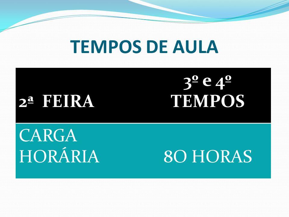 TEMPOS DE AULA 2ª FEIRA 3º e 4º TEMPOS CARGA HORÁRIA 8O HORAS