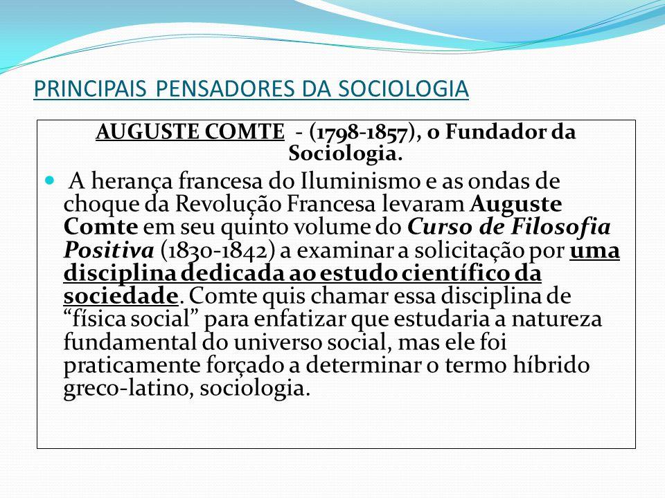 PRINCIPAIS PENSADORES DA SOCIOLOGIA