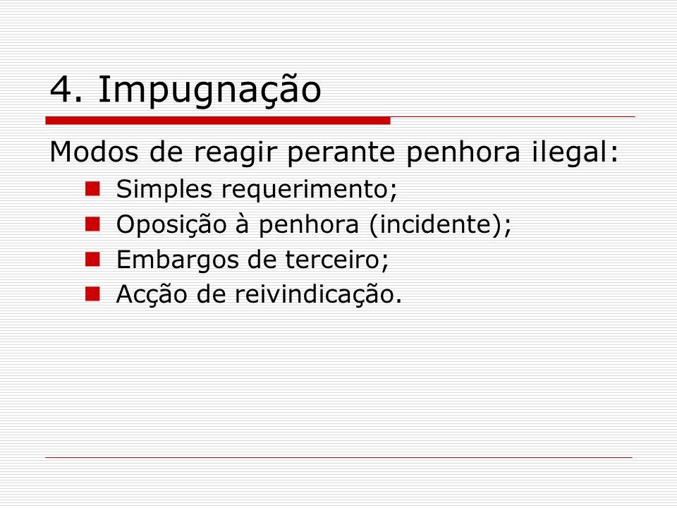 4. Impugnação Modos de reagir perante penhora ilegal: