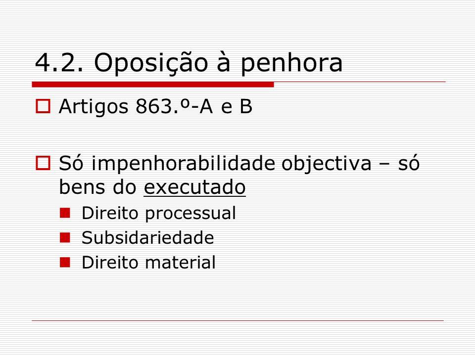 4.2. Oposição à penhora Artigos 863.º-A e B