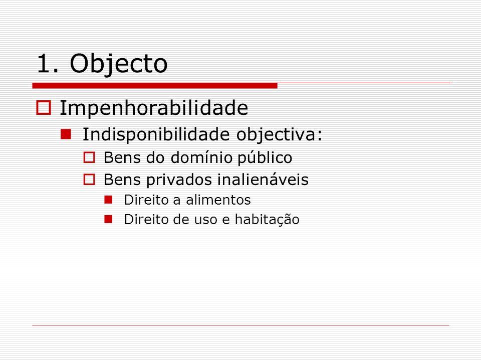 1. Objecto Impenhorabilidade Indisponibilidade objectiva: