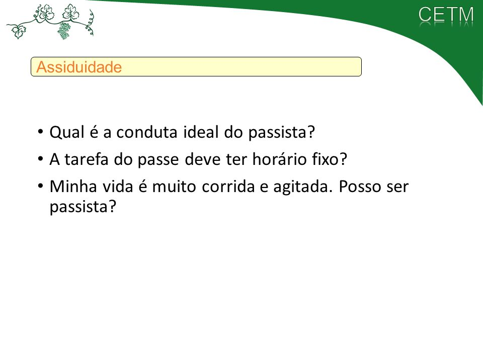 Qual é a conduta ideal do passista