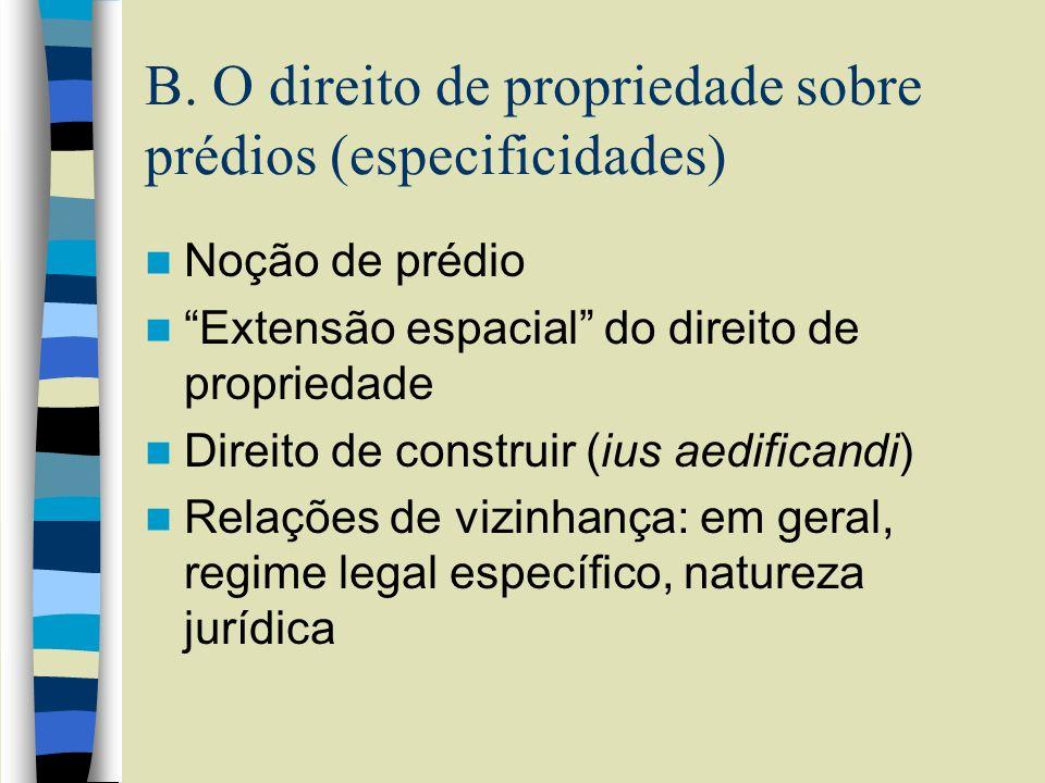B. O direito de propriedade sobre prédios (especificidades)