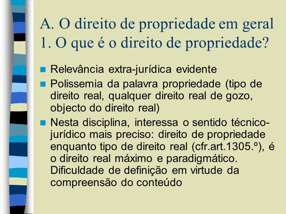 A. O direito de propriedade em geral 1