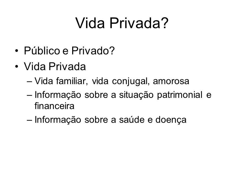 Vida Privada Público e Privado Vida Privada