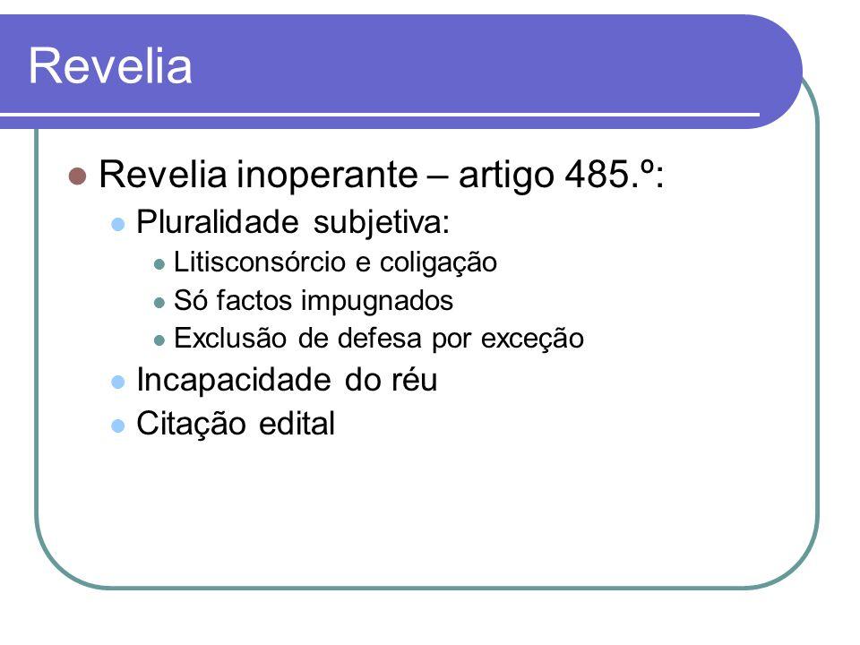 Revelia Revelia inoperante – artigo 485.º: Pluralidade subjetiva: