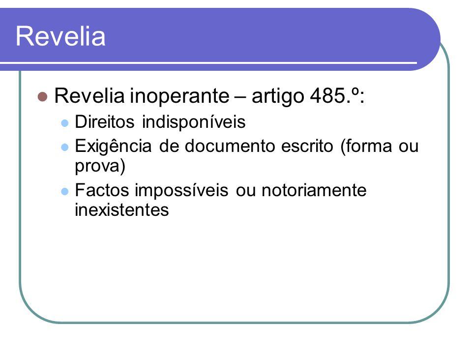 Revelia Revelia inoperante – artigo 485.º: Direitos indisponíveis