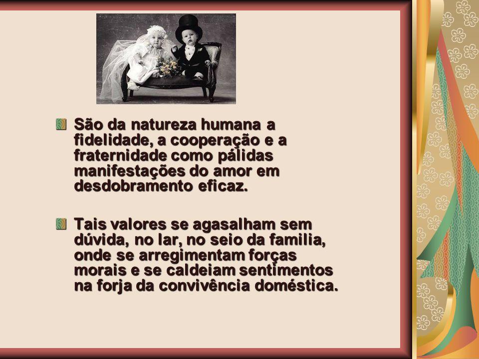 São da natureza humana a fidelidade, a cooperação e a fraternidade como pálidas manifestações do amor em desdobramento eficaz.