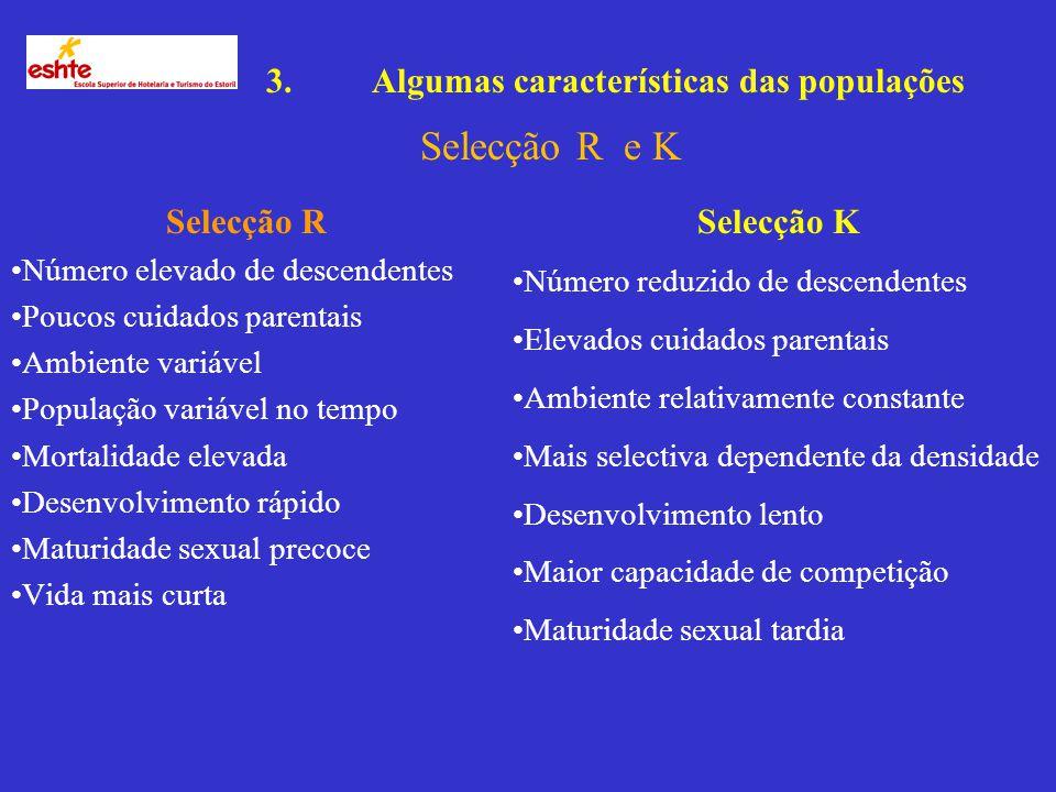 Selecção R e K 3. Algumas características das populações Selecção R
