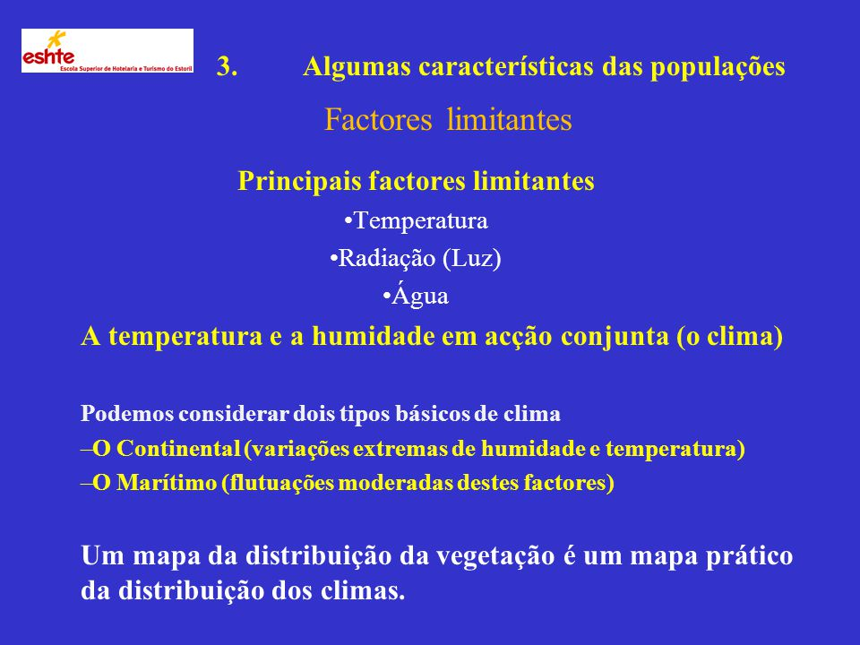 Principais factores limitantes