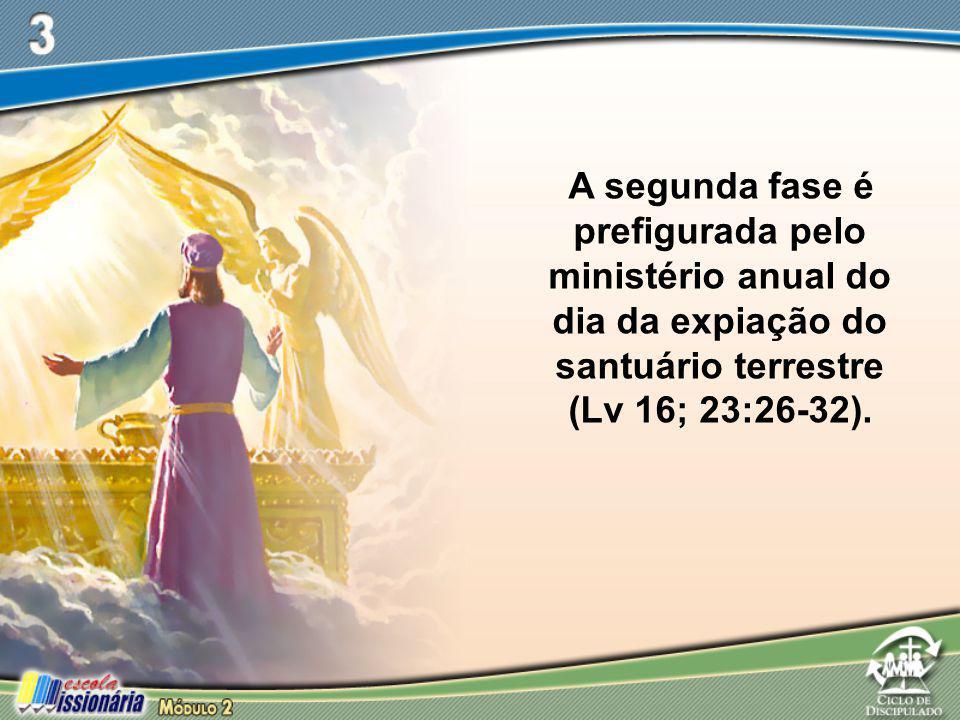A segunda fase é prefigurada pelo ministério anual do dia da expiação do santuário terrestre (Lv 16; 23:26-32).