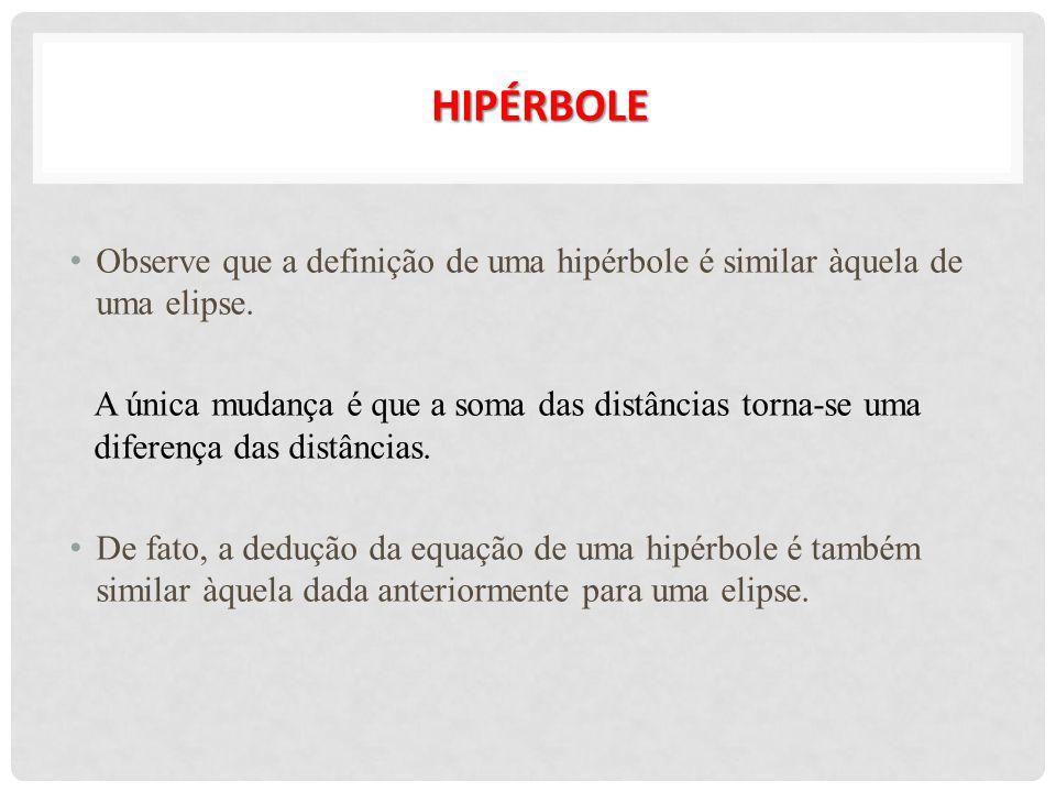 HIPÉRBOLE Observe que a definição de uma hipérbole é similar àquela de uma elipse.