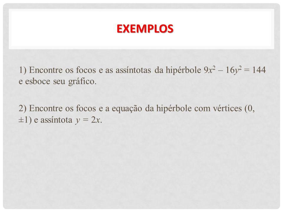 EXEMPLOs 1) Encontre os focos e as assíntotas da hipérbole 9x2 – 16y2 = 144 e esboce seu gráfico.