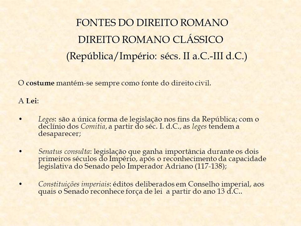 FONTES DO DIREITO ROMANO DIREITO ROMANO CLÁSSICO (República/Império: sécs. II a.C.-III d.C.)