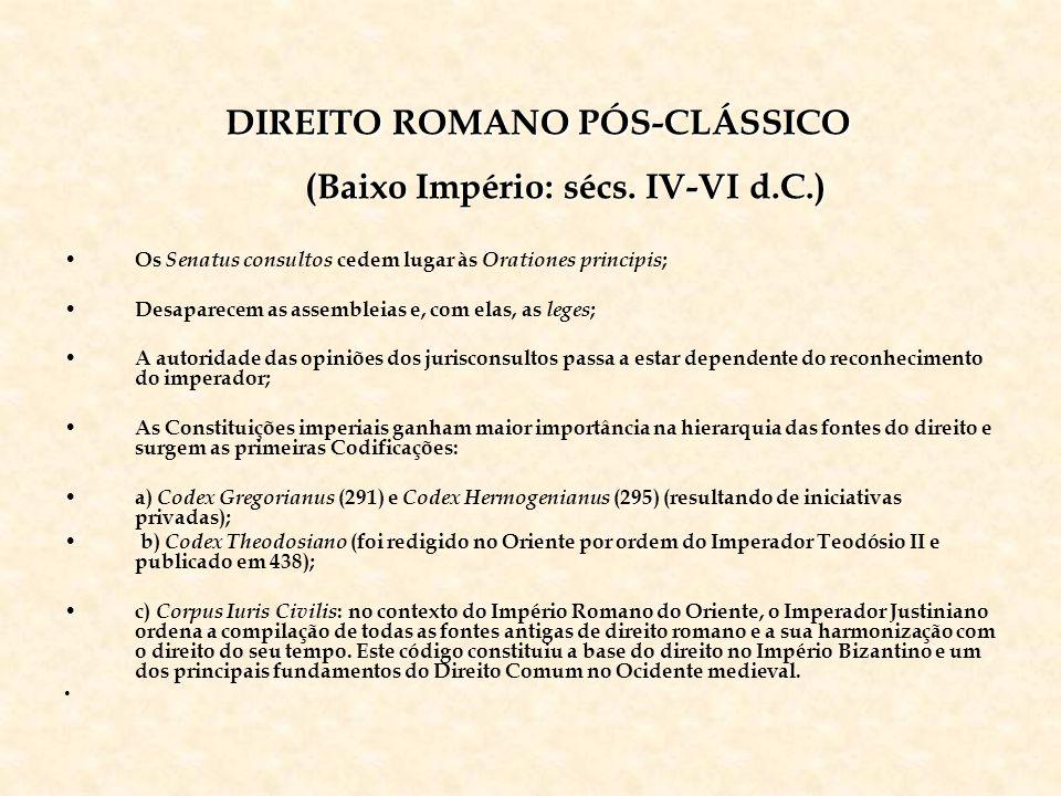 DIREITO ROMANO PÓS-CLÁSSICO (Baixo Império: sécs. IV-VI d.C.)