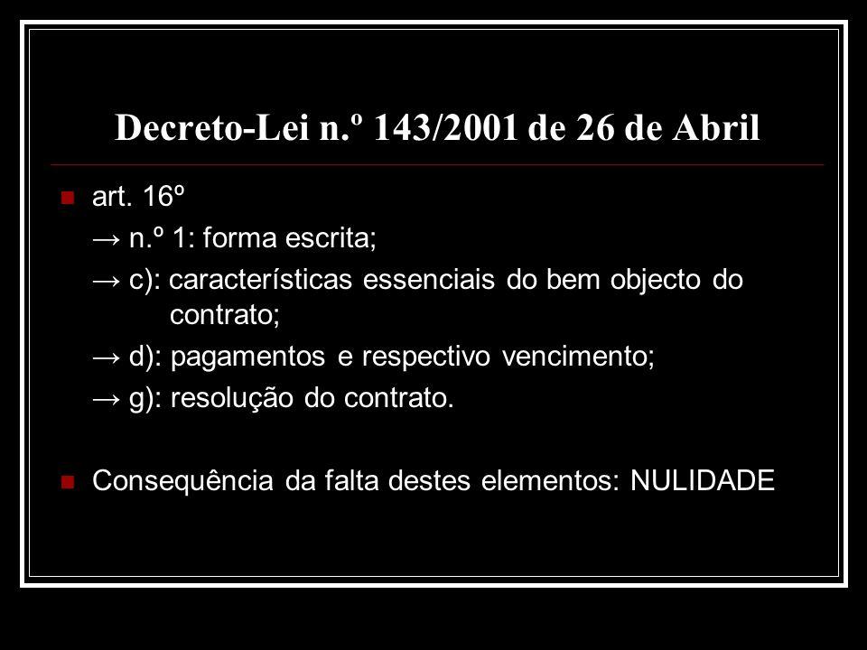 Decreto-Lei n.º 143/2001 de 26 de Abril