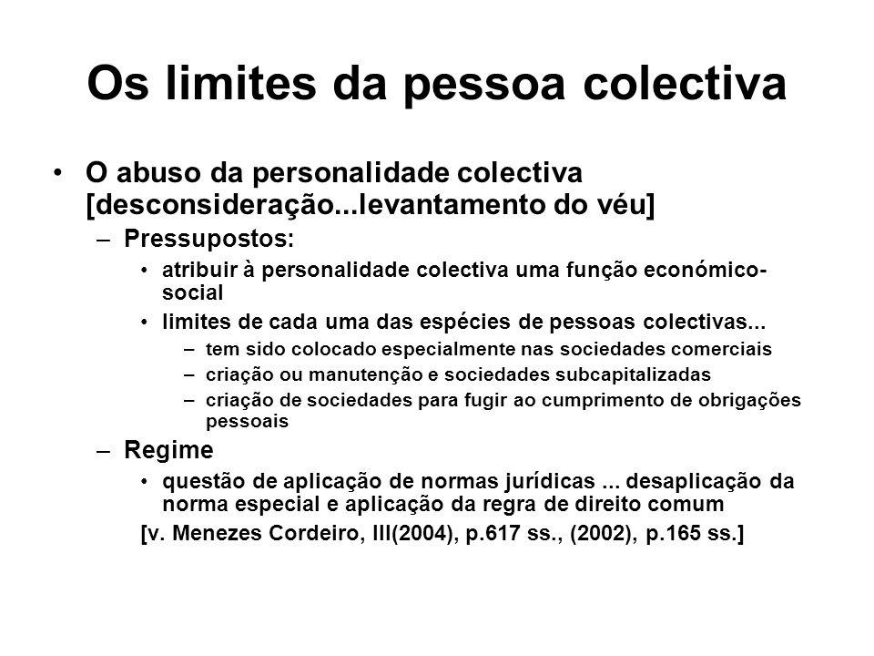 Os limites da pessoa colectiva