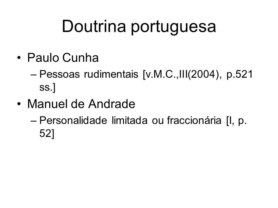Doutrina portuguesa Paulo Cunha Manuel de Andrade