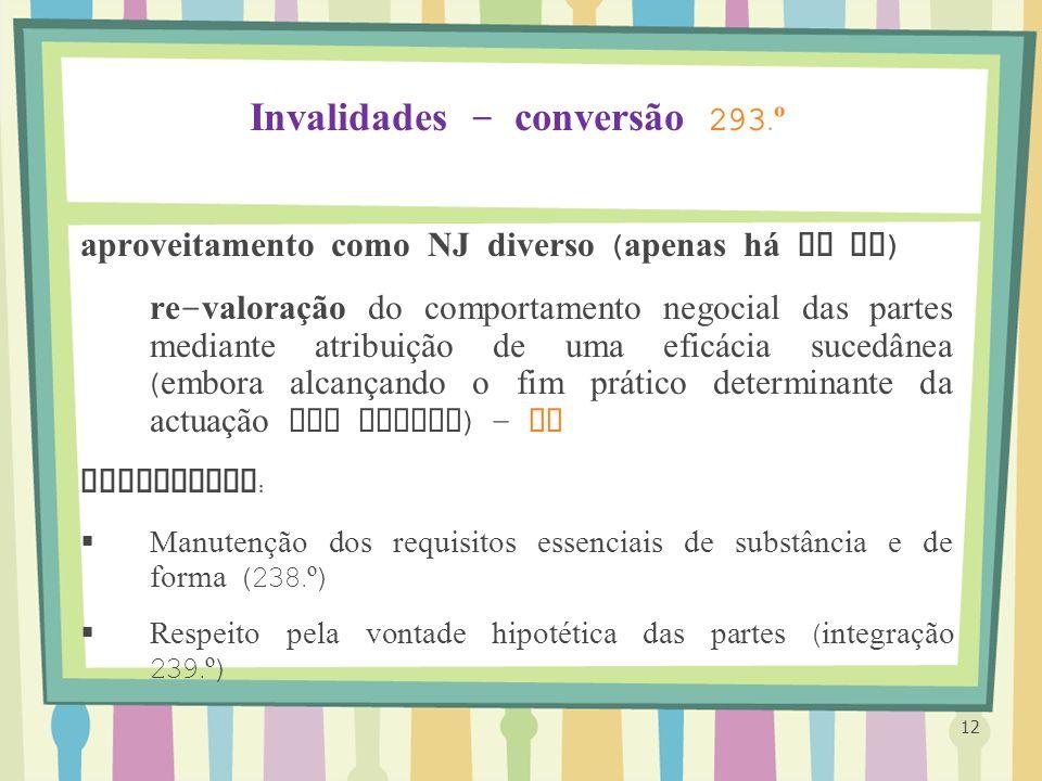 Invalidades – conversão 293.º