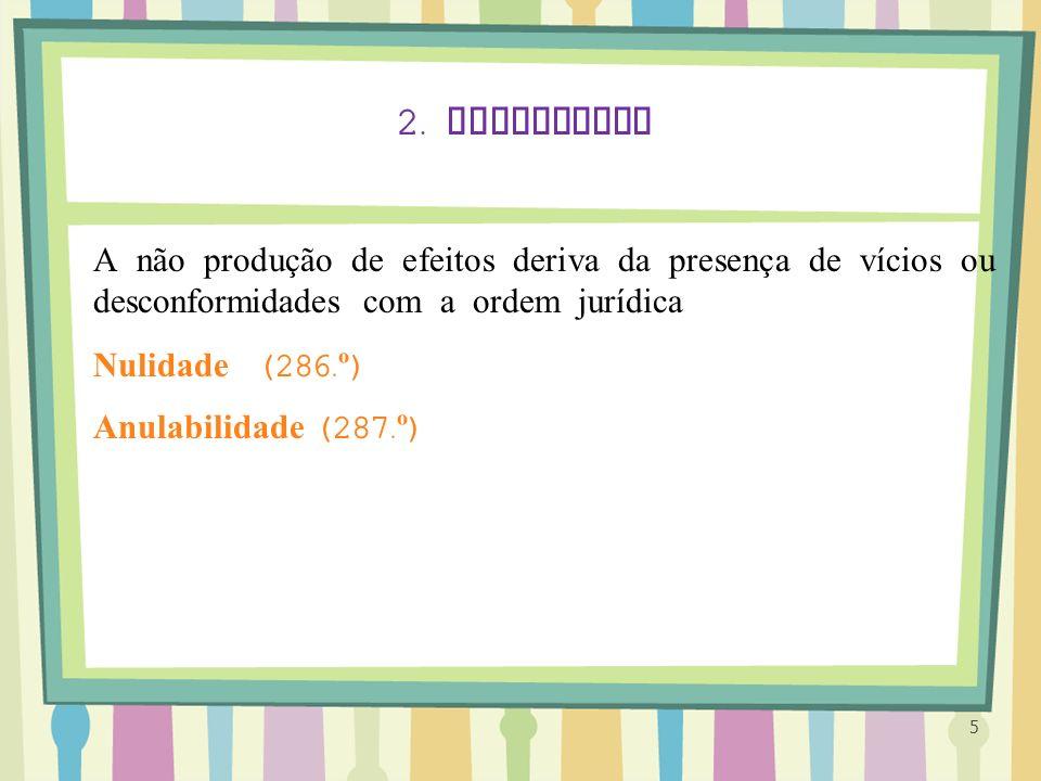 2. Invalidade A não produção de efeitos deriva da presença de vícios ou desconformidades com a ordem jurídica.