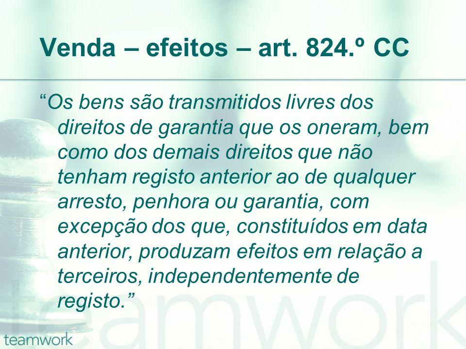 Venda – efeitos – art. 824.º CC