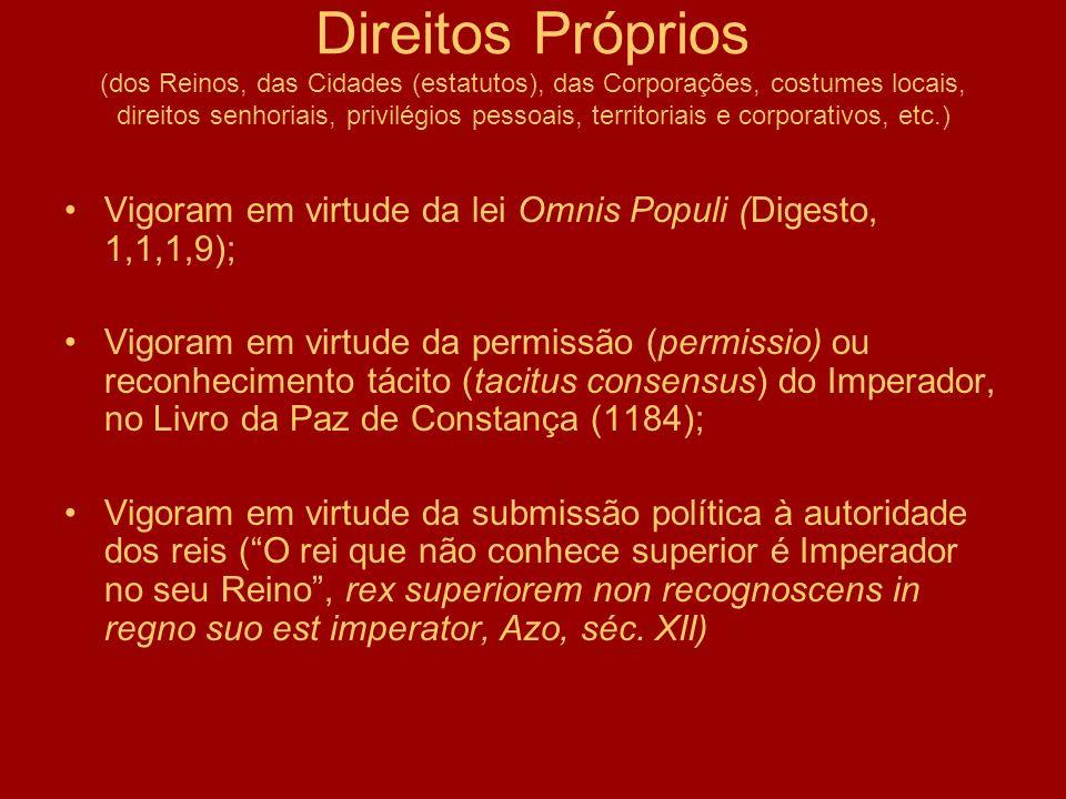 Direitos Próprios (dos Reinos, das Cidades (estatutos), das Corporações, costumes locais, direitos senhoriais, privilégios pessoais, territoriais e corporativos, etc.)