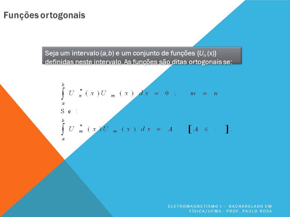 Funções ortogonais Seja um intervalo (a,b) e um conjunto de funções {Un (x)} definidas neste intervalo. As funções são ditas ortogonais se: