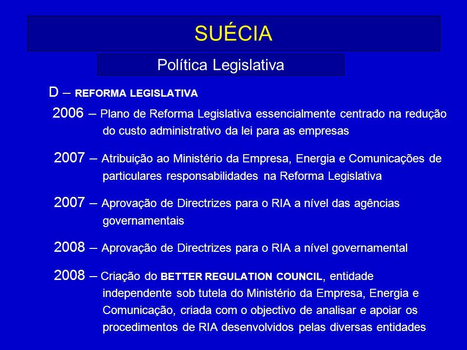SUÉCIA Política Legislativa D – REFORMA LEGISLATIVA