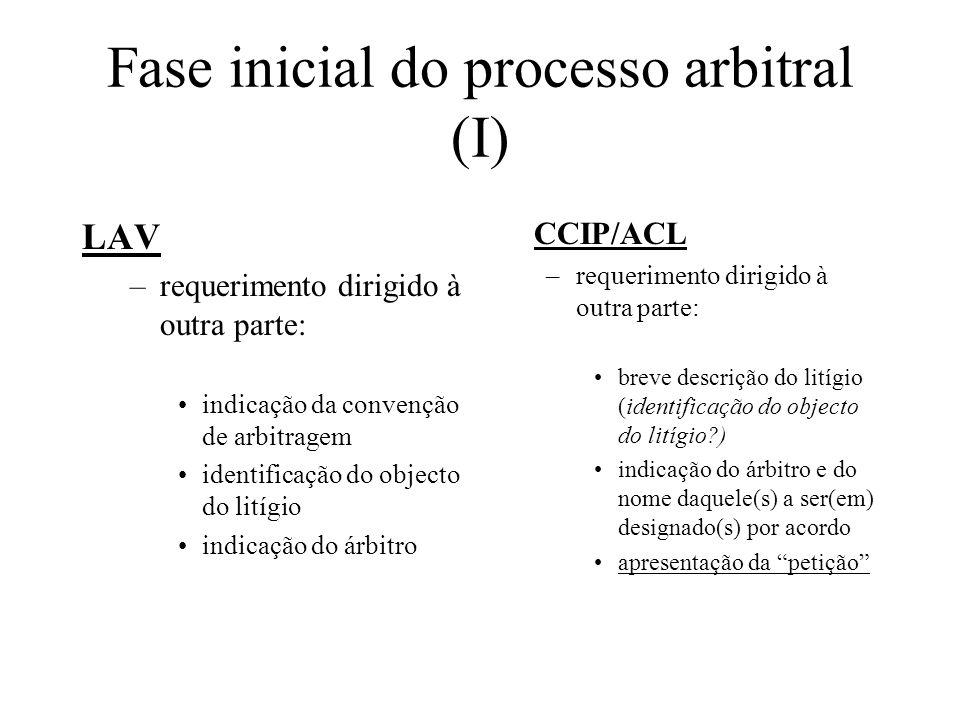 Fase inicial do processo arbitral (I)