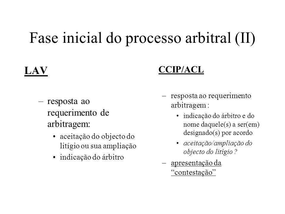 Fase inicial do processo arbitral (II)