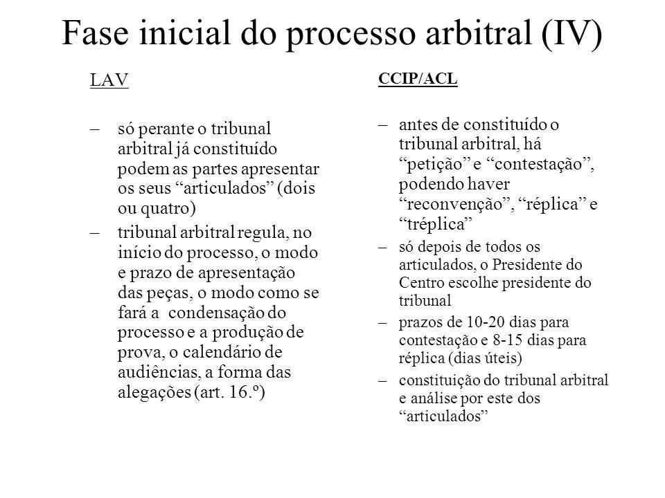 Fase inicial do processo arbitral (IV)