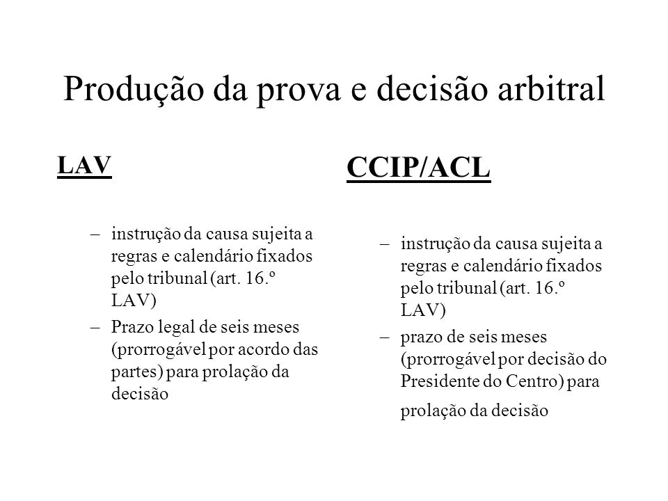 Produção da prova e decisão arbitral