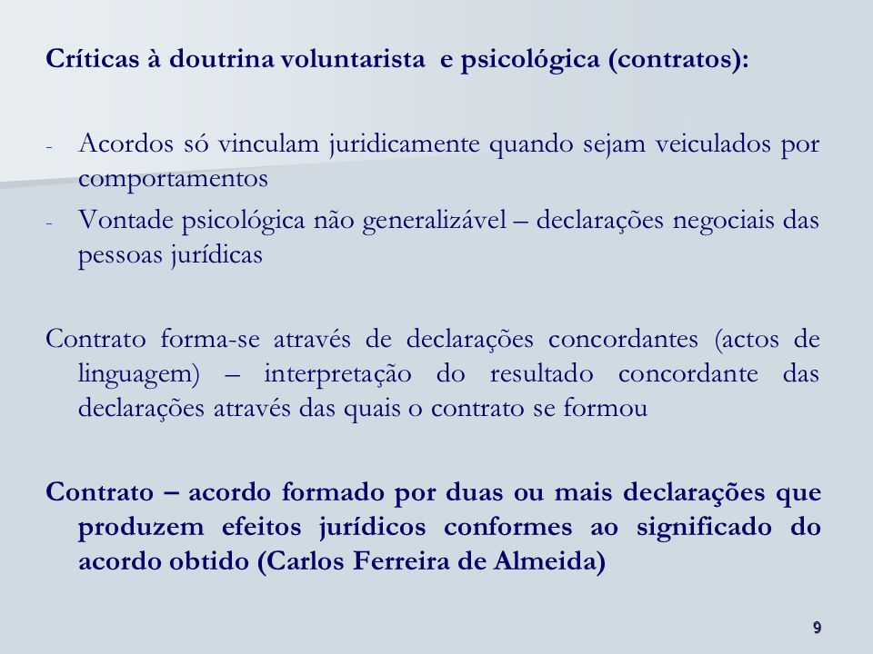 Críticas à doutrina voluntarista e psicológica (contratos):
