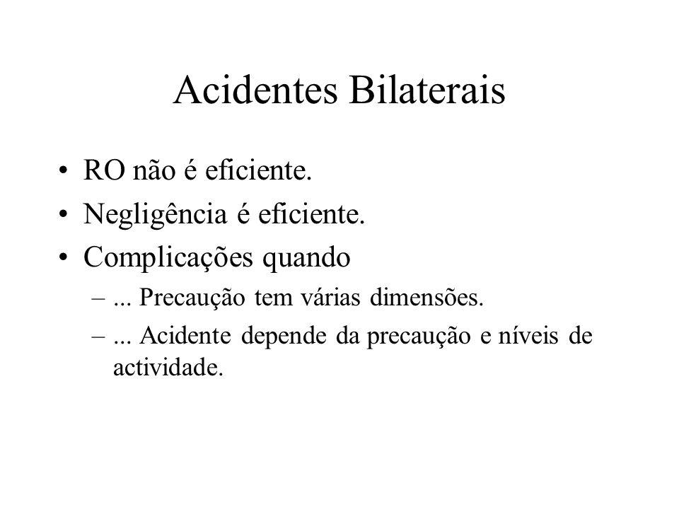 Acidentes Bilaterais RO não é eficiente. Negligência é eficiente.